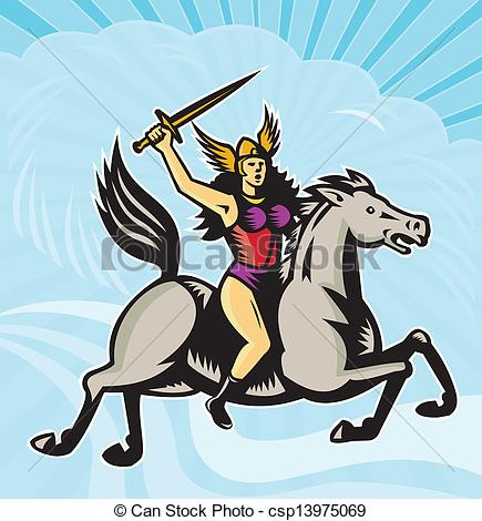 Clip Art Vector of Valkyrie Amazon Warrior Riding Horse.