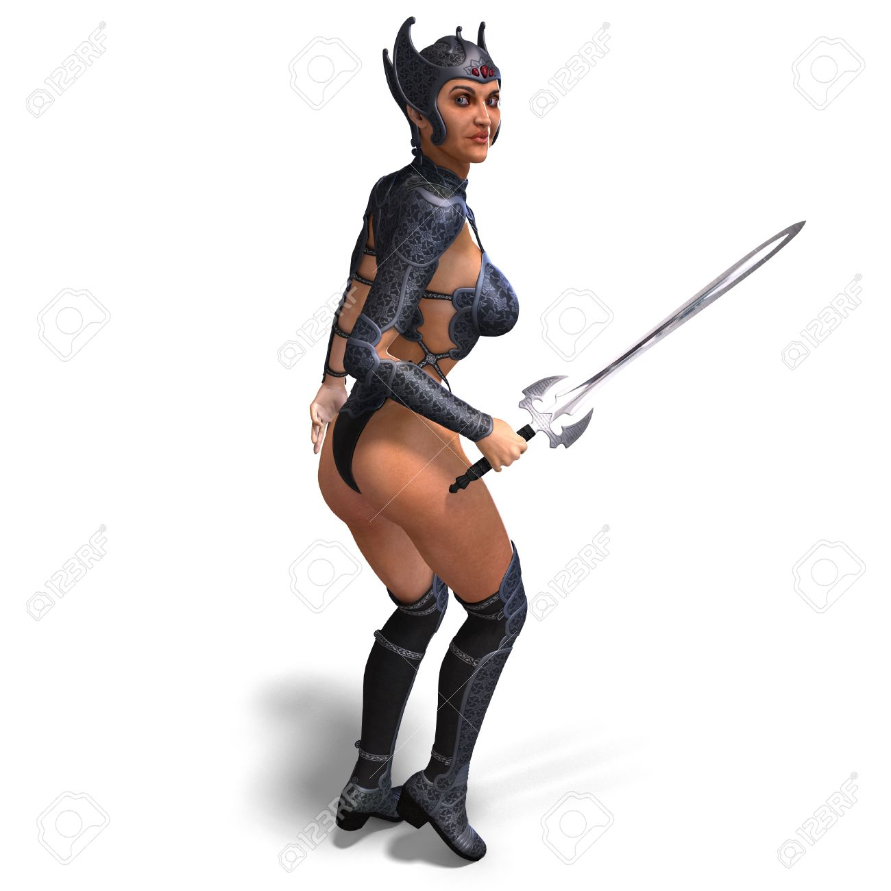 Female Amazon Warrior With Sword And Armor. 3D Rendering Stock.