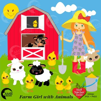 Farm Clipart, Farmer Girl Clip Art, Farm Animal Clipart, AMB.