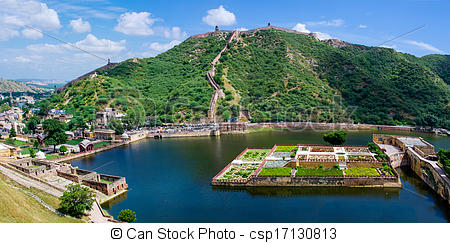Stock Photography of Maota Lake and Gardens of Amber Fort in.
