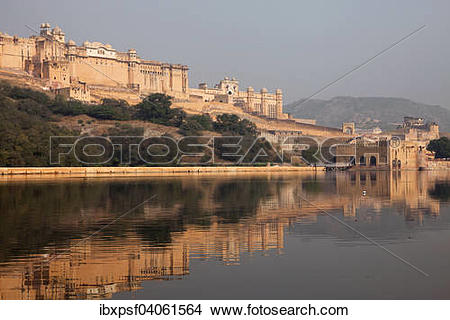 "Stock Photo of ""Amber Fort and Maota Lake, Jaipur, Rajasthan."