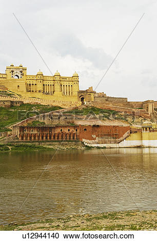 Stock Photography of Low angle view of a fort, Maotha lake, Amber.
