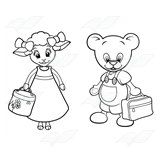 Amber Lamb, Button Bear, holding lunchboxes.