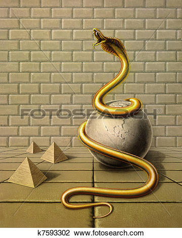 Clip Art of golden snake in surreal ambiance k7593302.