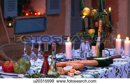 Stock Photograph of Table setting in southern ambience u20315599.