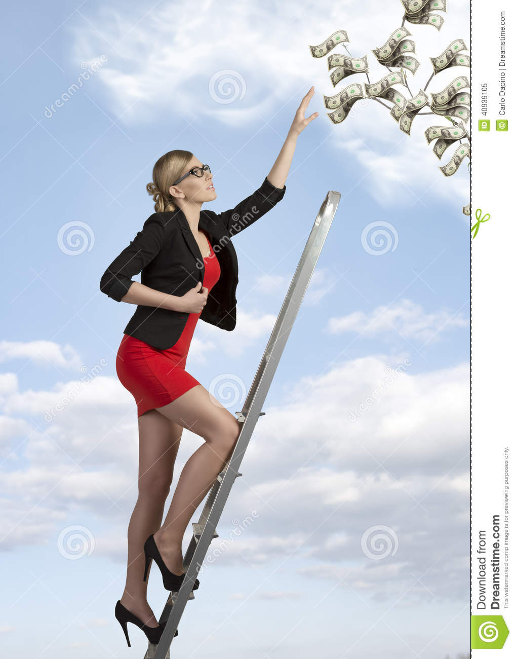 Ambitious Sexy Business Woman Stock Photo.