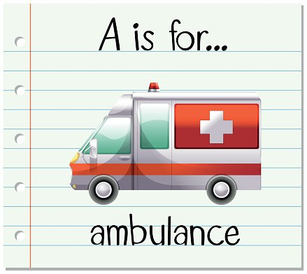 Flashcard letter A is for ambulance Clipart Image.