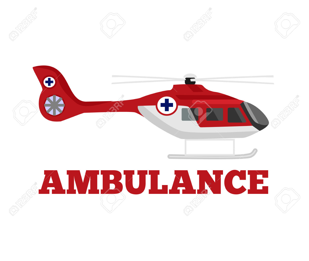 Vector Ambulance Helicopter Flat Illustration Royalty Free.