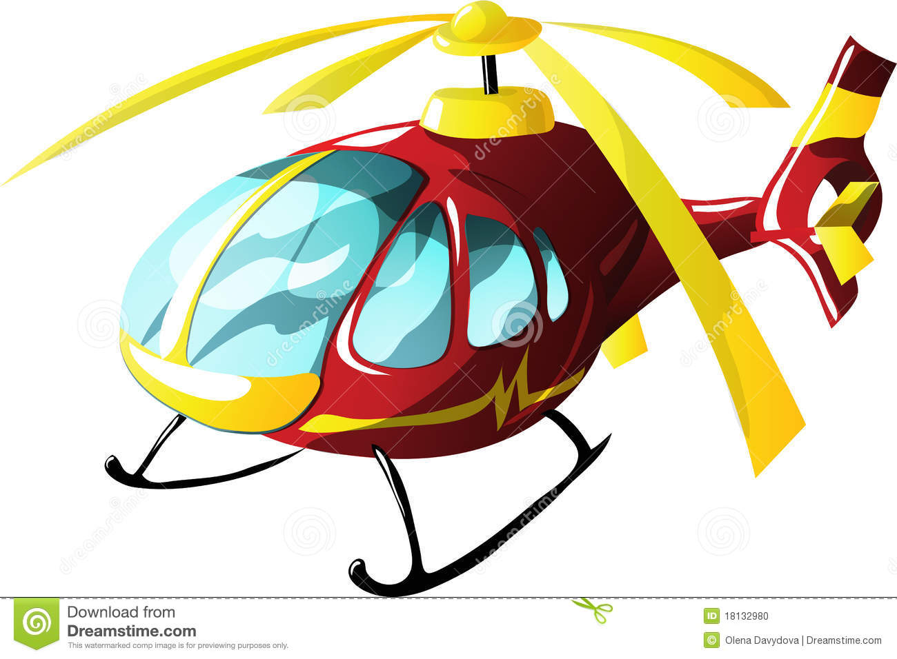 Cartoon Ambulance Helicopter Stock Photo.