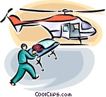 person loaded onto air ambulance Vector Clip art.