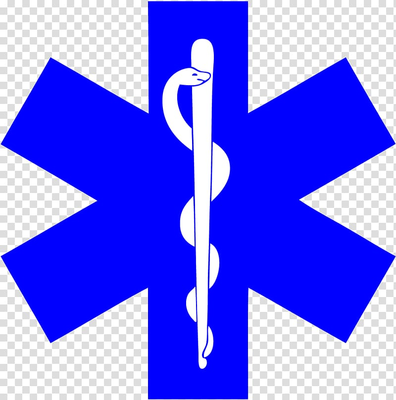 Blue and white Rx logo, Star of Life Emergency medical.
