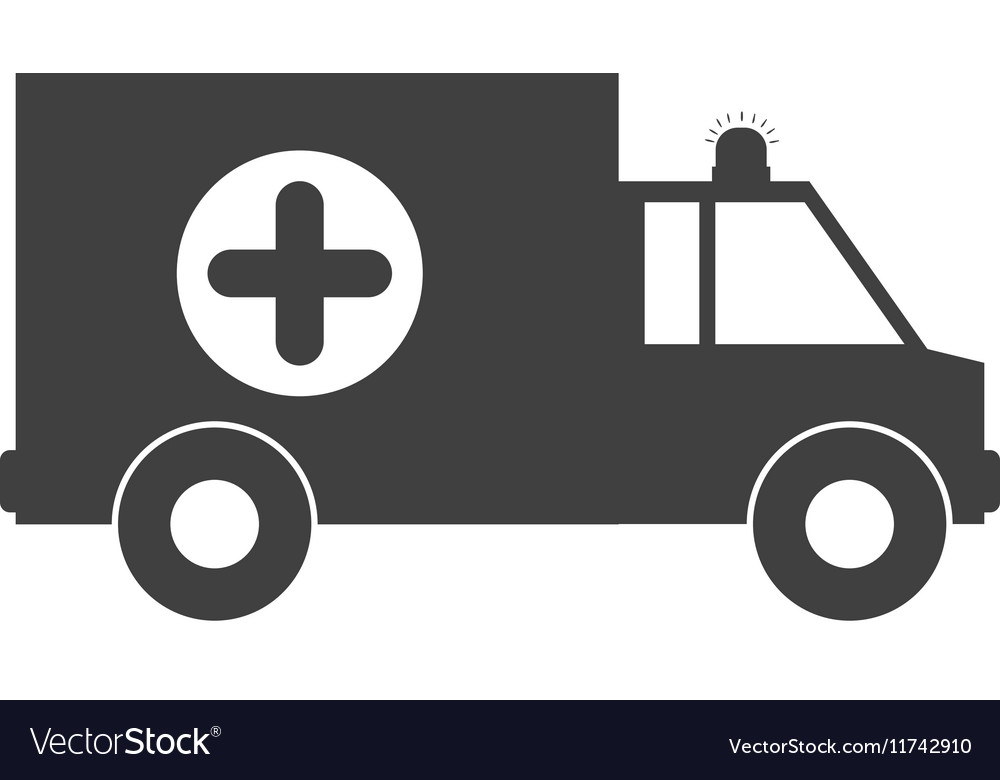 Monochrome silhouette with ambulance and cross.