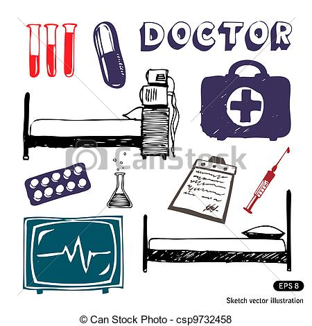 Vector of Medicine icon set. Hand drawn vector illustration on.