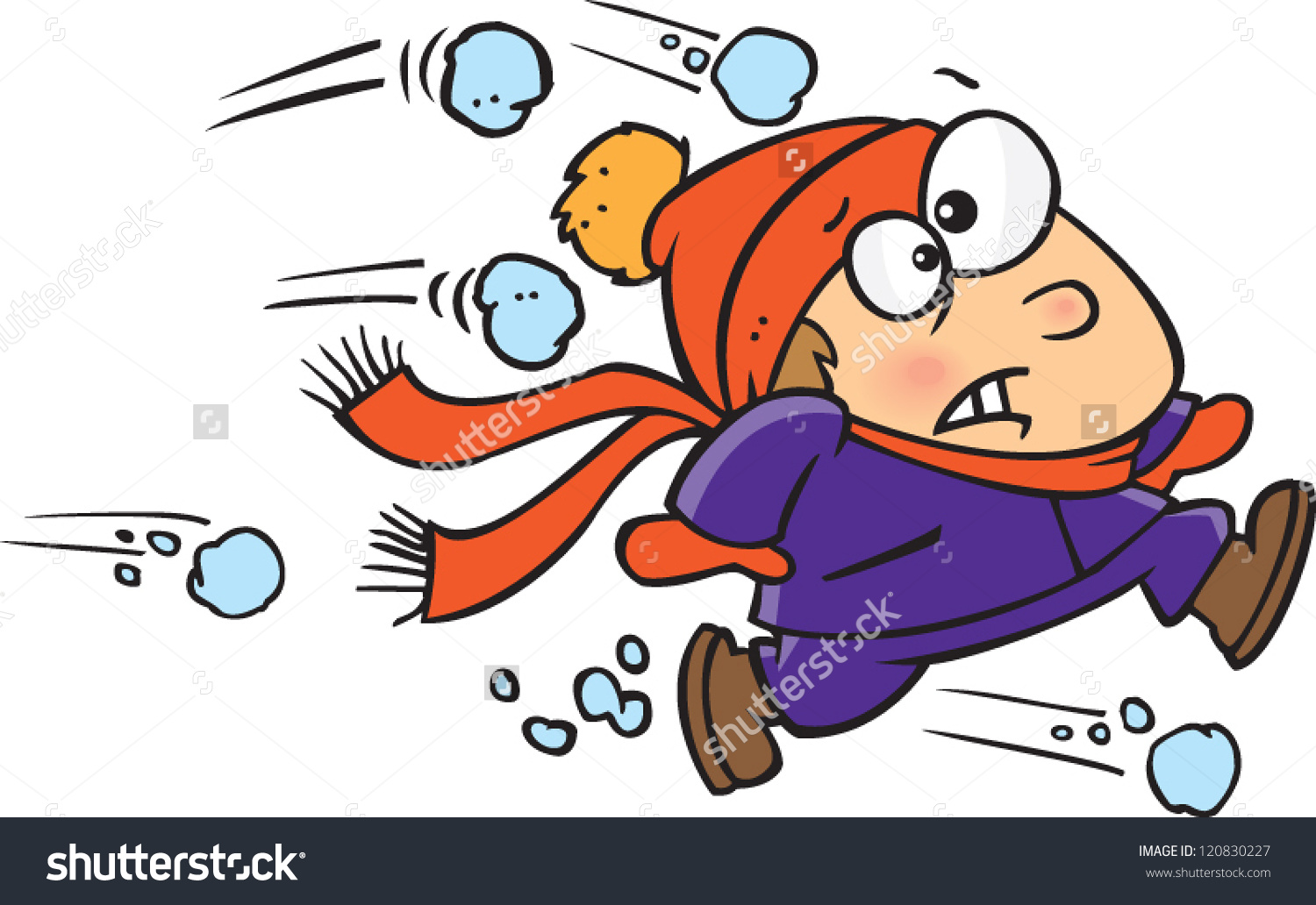 Cartoon Boy Running Away Ambush Snowballs Stock Vector 120830227.