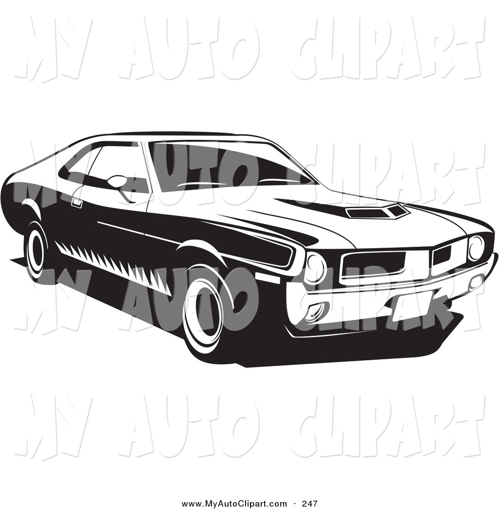 Clip Art of a 1970 Black Javelin Muscle Car Made by Amc, with Hood.