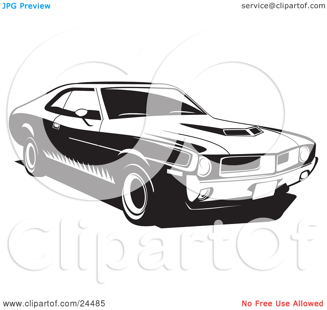 Clipart Illustration of a 1970 Javelin Muscle Car Made By Amc.