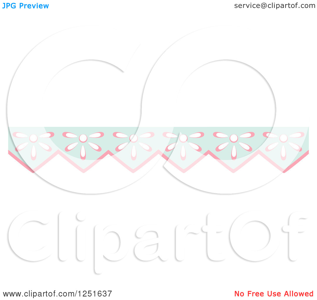Clipart of a Shappy Chic Pink Amd Blue Flower Rule Border.