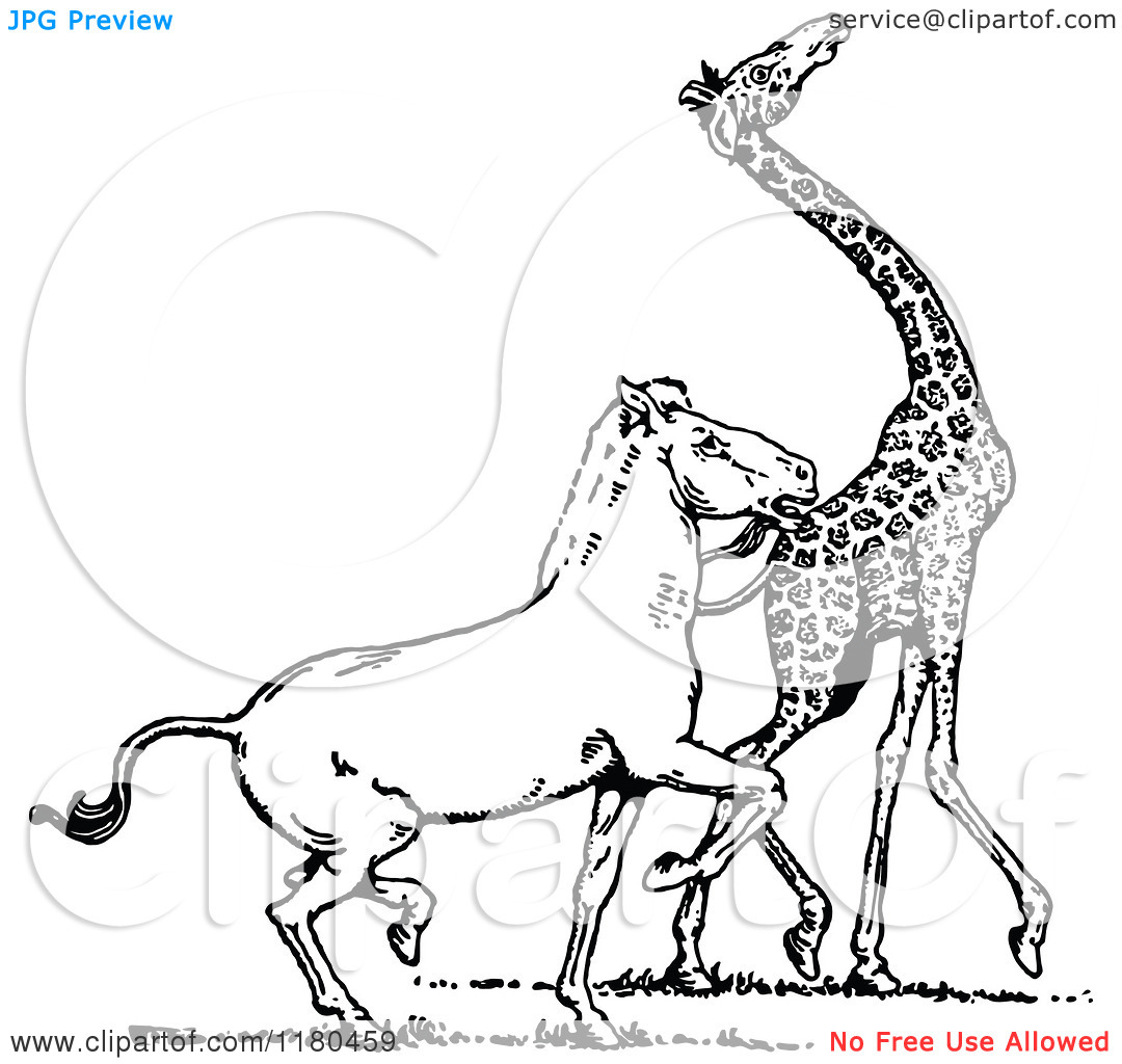 Clipart of a Retro Vintage Black and White Horse Amd Giraffe.