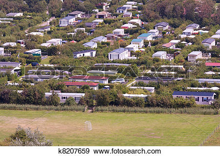 Stock Photograph of Aerial view of a bungalow park at Ameland, the.