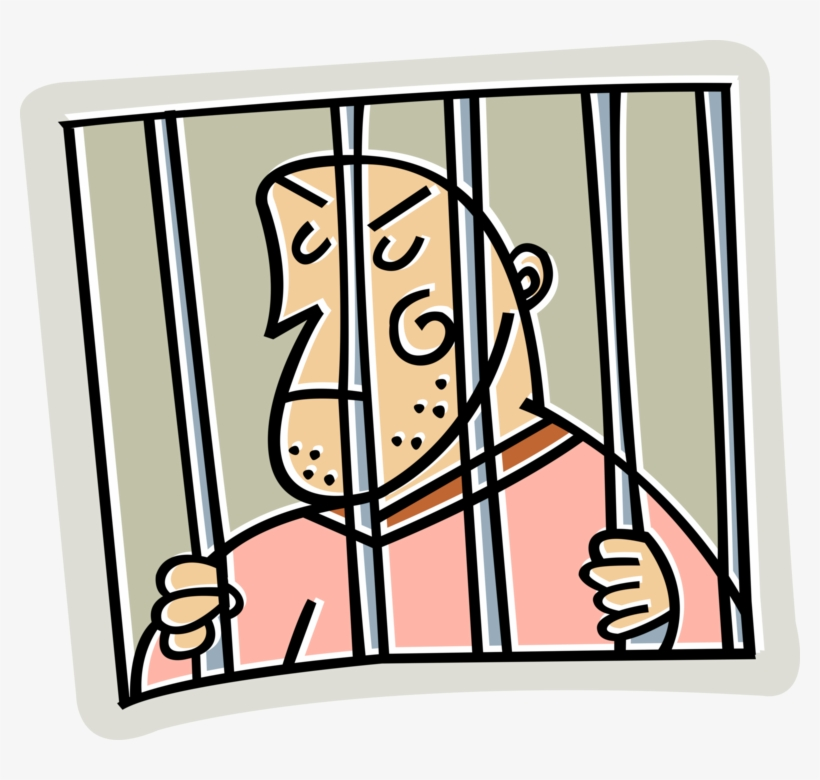 Vector Illustration Of Prison Cell With Incarcerated.