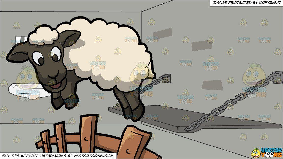 clipart #cartoon A Jumping Sheep and Amenities Inside A.