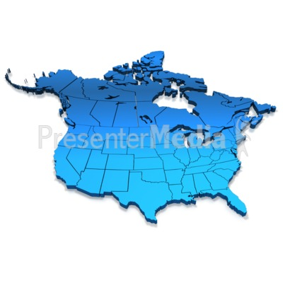 North America Blue Map.