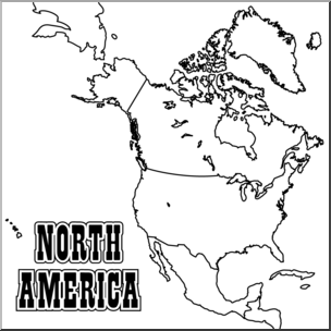 Clip Art: North America Map B&W Blank I abcteach.com.