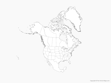 Vector Map of North America with US States and Canadian.