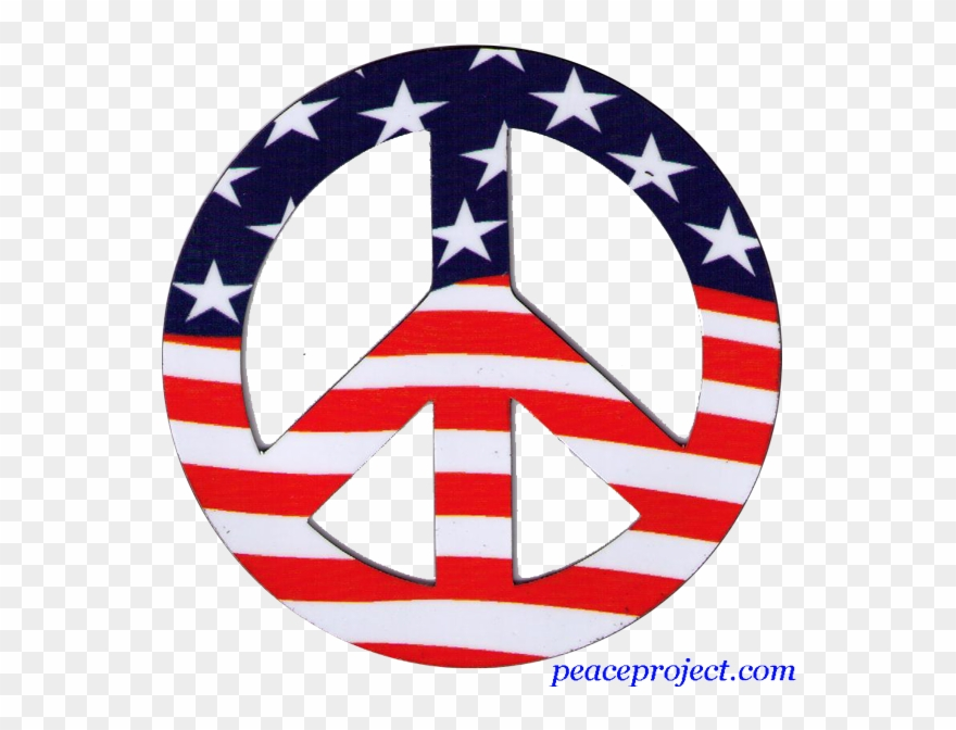 Peace Sign Wall Decal American Flag Repositionable.