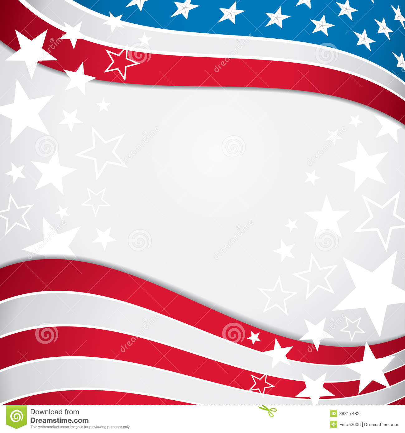 American Flag Background Stock Vector.