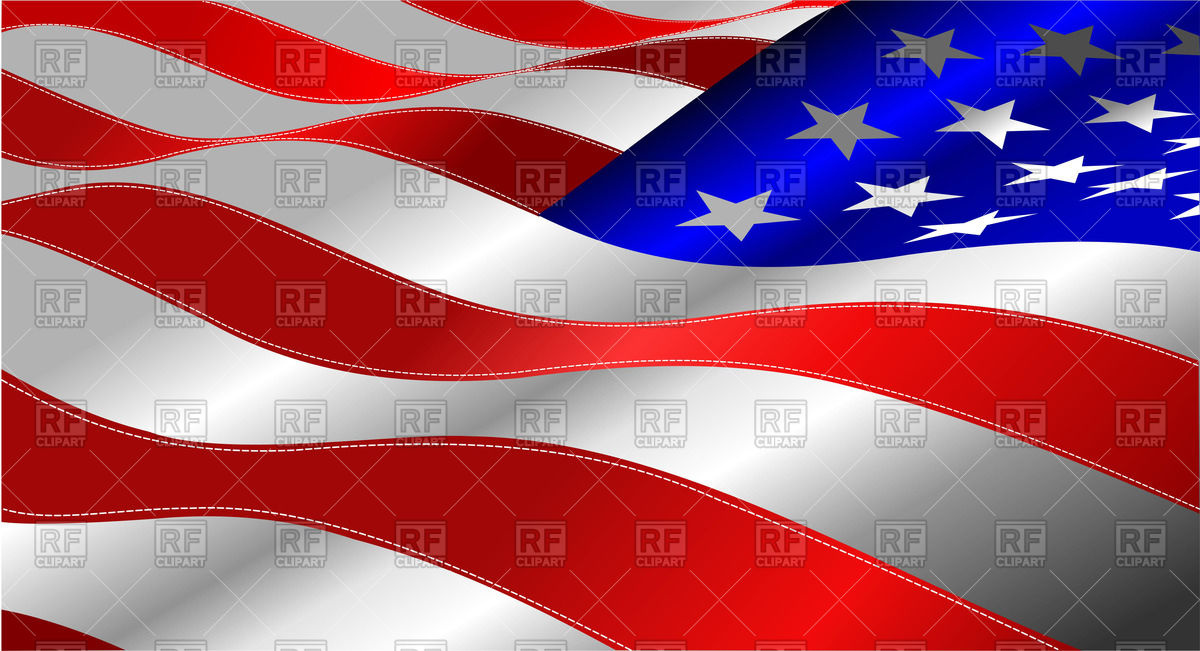 Waving American Stars and Stripes.