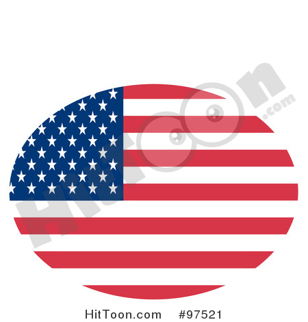 American Flag Clipart #97521: Oval Fourth of July American Flag.