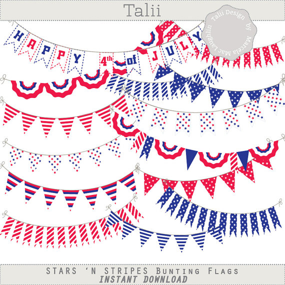 Bunting Flags Clip Art 4th of July.
