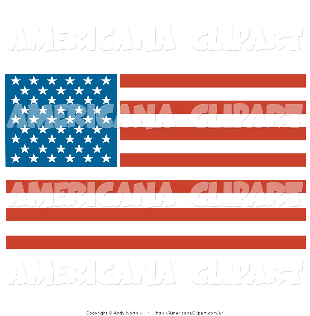 Americana Vector Clip Art of a Patriotic American Flag with Stars.