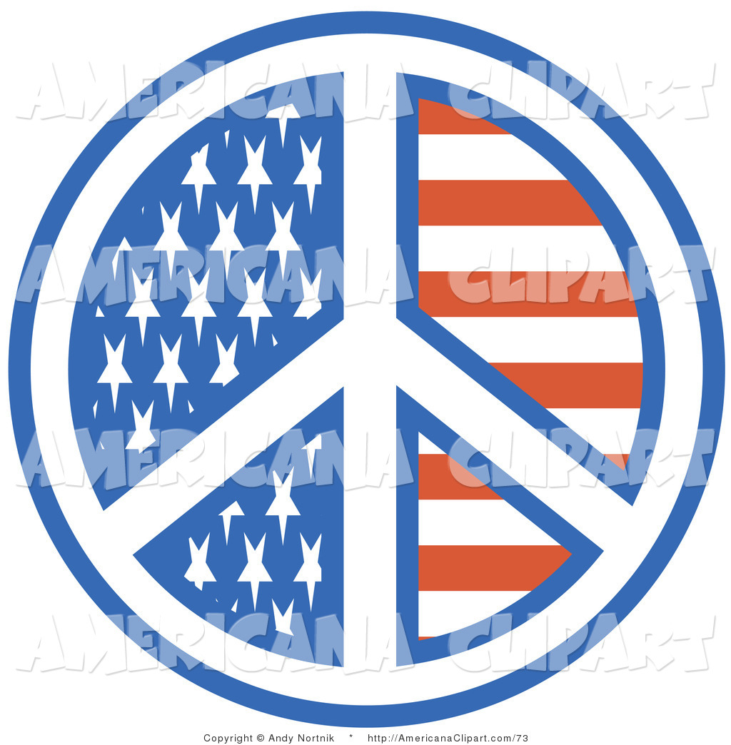 Americana Vector Clip Art of an American Flag Peace Symbol with.