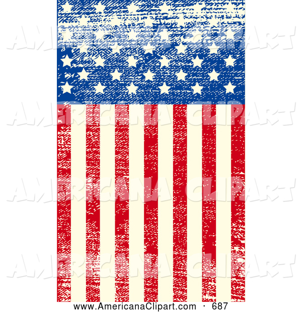 Americana Vector Clip Art of a Grungy American Flag with.