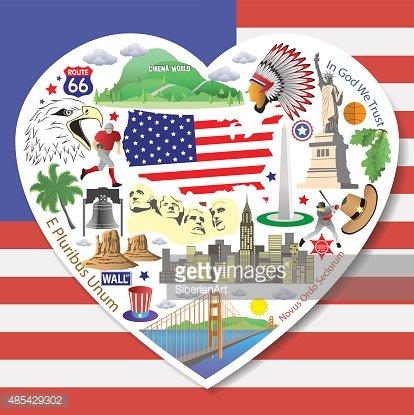 USA Love. Set american landmarks icons and symbols Clipart.
