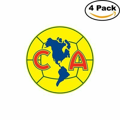 America Soccer Liga MX Mexico Logo 4 Stickers 4X4 Inches.