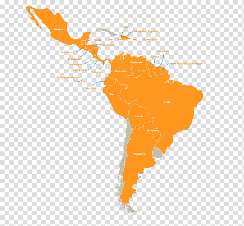 South America Latin America Map, map transparent background PNG.