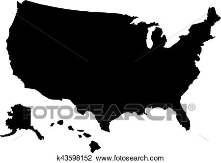 United States of America map with hawaii Clipart.