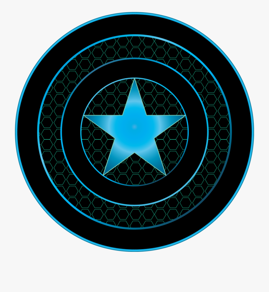 Awesome Black And Blue Neon Captain America Shield.