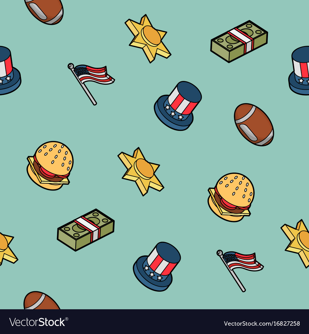 America color outline isometric pattern.