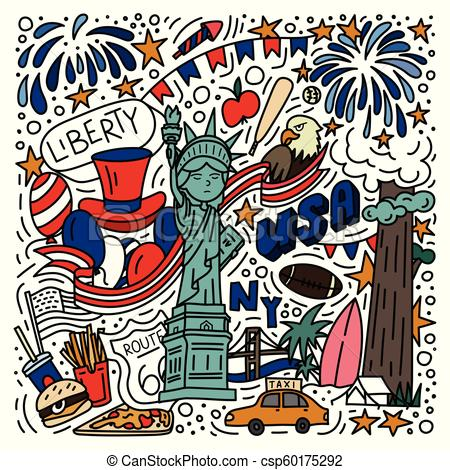 American symbols doodle style hand drawn poster.