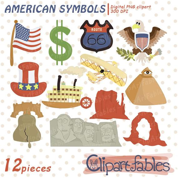 USA National Symbols ClipArt, Travel clip art, United States Of America,  USA Flag, American Icons, Cute Illustration, Instant download.