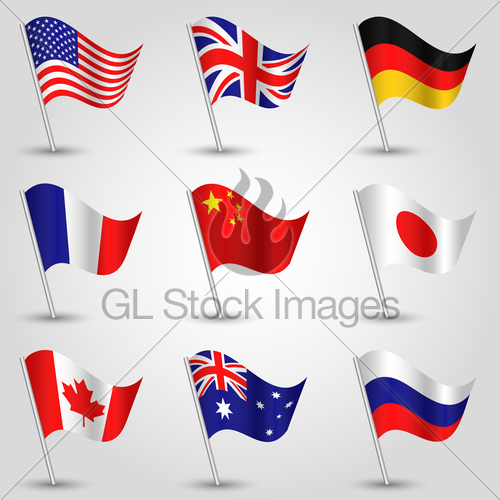 Set Flags American, English, German, French, Chinese, Jap.