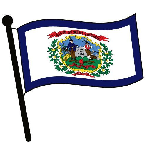 West Virginia Waving Flag Clip Art.