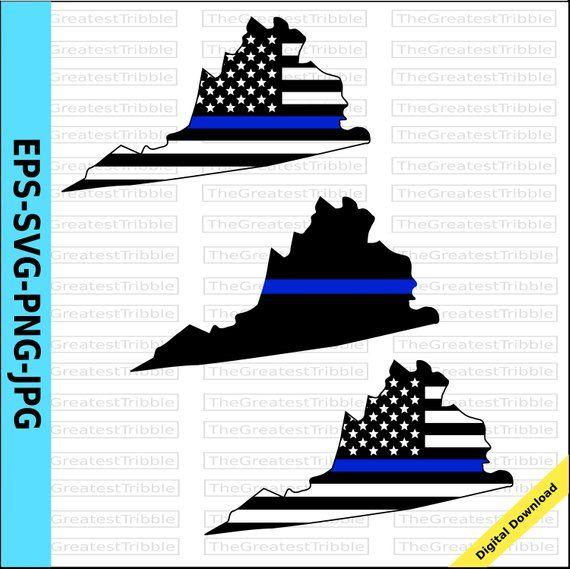 Thin Blue Line Virginia USA Flag Thin Blue Line Flag eps svg.