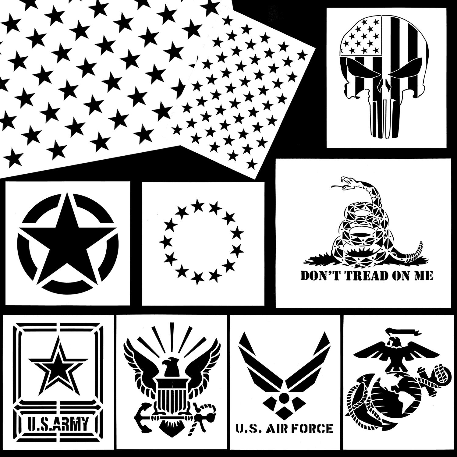 Whaline American Flag Stencil Military Series Template Marine Corps, Army,  Air Force for Painting on Wood, Fabric, Paper, Airbrush, Walls Art (10.
