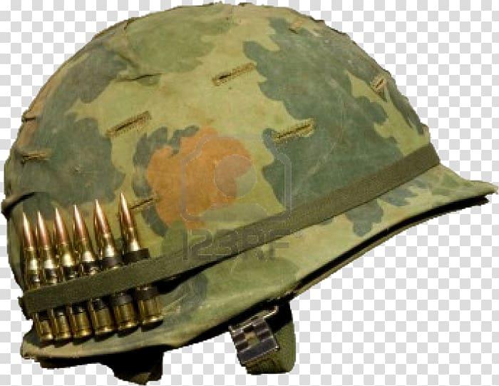 M1 helmet Vietnam War Military, Helmet transparent.