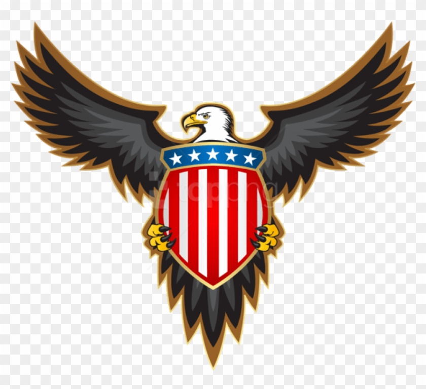 Free Png Download Eagle With American Badge Clipart.